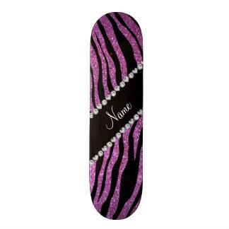 Custom name pastel purple glitter tiger stripes skate board decks