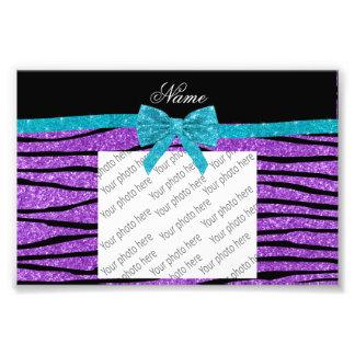 Custom name pastel purple glitter zebra stripes art photo