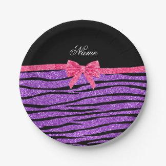 Custom name pastel purple glitter zebra stripes 7 inch paper plate