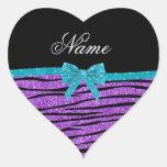 Custom name pastel purple glitter zebra stripes heart sticker
