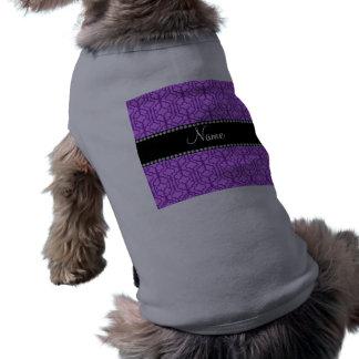 Custom name pastel purple moroccan quatrefoil pet clothing