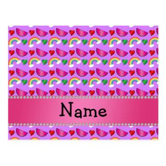 Custom name pastel purple watermelons rainbows post cards