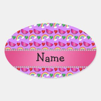Custom name pastel purple watermelons rainbows oval sticker