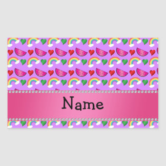 Custom name pastel purple watermelons rainbows sticker