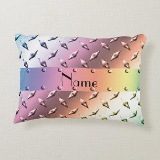 Custom name pastel rainbow diamond plate steel accent pillow