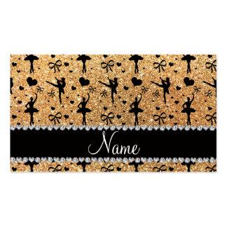 Custom name pastel yellow glitter ballerinas business cards