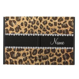Custom name pastel yellow glitter leopard print powis iPad air 2 case