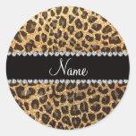 Custom name pastel yellow glitter leopard print round stickers