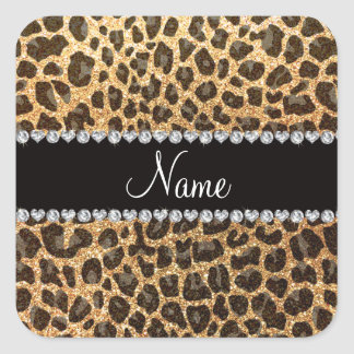 Custom name pastel yellow glitter leopard print square sticker