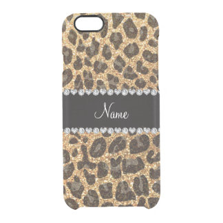 Custom name pastel yellow glitter leopard print uncommon clearly™ deflector iPhone 6 case