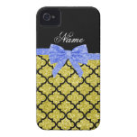 Custom name pastel yellow glitter moroccan blue bo iPhone 4 Case-Mate cases