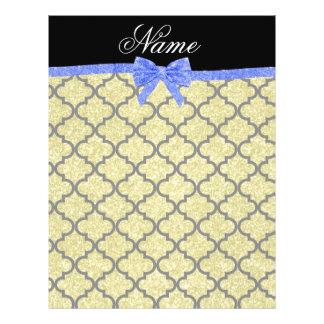 Custom name pastel yellow glitter moroccan blue bo custom flyer