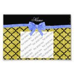 Custom name pastel yellow glitter moroccan blue bo photo print