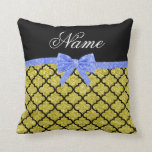 Custom name pastel yellow glitter moroccan blue bo pillows