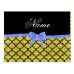 Custom name pastel yellow glitter moroccan blue bo postcard