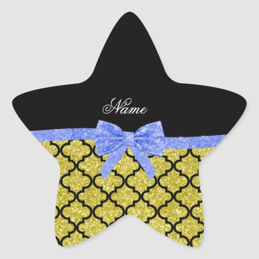Custom name pastel yellow glitter moroccan blue bo sticker