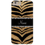 Custom name pastel yellow glitter tiger stripes barely there iPhone 6 plus case
