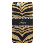 Custom name pastel yellow glitter tiger stripes glossy iPhone 6 plus case