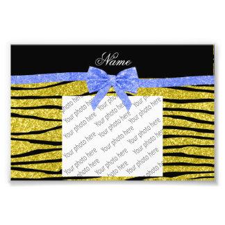 Custom name pastel yellow glitter zebra stripes photo print