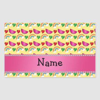 Custom name pastel yellow watermelons rainbows rectangular sticker