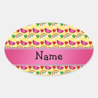 Custom name pastel yellow watermelons rainbows oval sticker