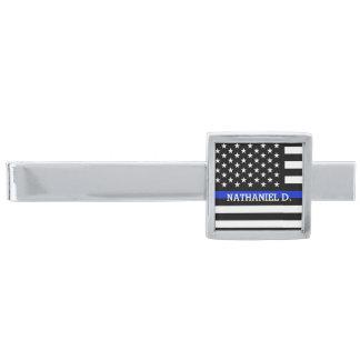 Custom Name Patriotic Police Flag Silver Finish Tie Clip