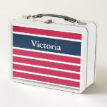"""Custom Name Patriotic Red White and Blue Metal Lunch Box<br><div class=""""desc"""">This striped lunch box is red white and blue. Personalize this patriotic lunch box with the recipient&#39;s name.</div>"""