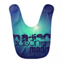 Custom Name Pattern on Aqua Blue Background Baby Bib