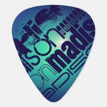 Custom Name Pattern On Aqua Blue Background Guitar Pick by ColorStock at Zazzle
