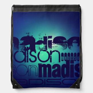 Custom Name Pattern on Aqua Blue Background Drawstring Backpack