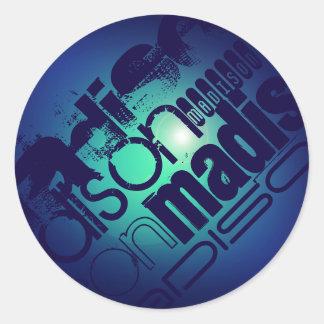 Custom Name Pattern on Aqua Blue Background Classic Round Sticker