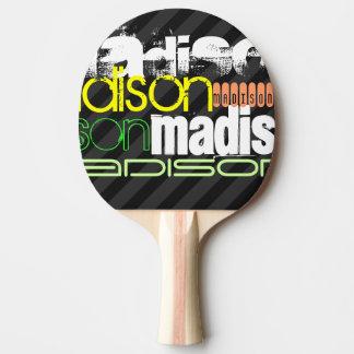 Custom Name Pattern on Black & Gray Stripes Ping-Pong Paddle