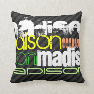 Custom Name Pattern on Black & Gray Stripes Throw Pillow