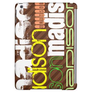Custom Name Pattern on Brown Stripes iPad Air Case