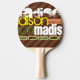Custom Name Pattern on Brown Stripes Ping-Pong Paddle