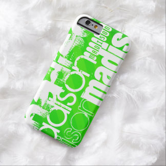 Custom Name Pattern on Neon Green Stripes Barely There iPhone 6 Case