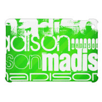 Custom Name Pattern on Neon Green Stripes Case For The iPad Mini