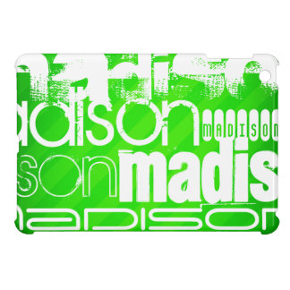 Custom Name Pattern on Neon Green Stripes iPad Mini Case
