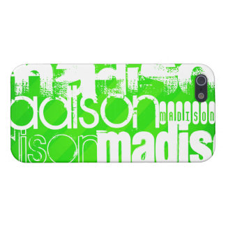 Custom Name Pattern on Neon Green Stripes iPhone SE/5/5s Cover