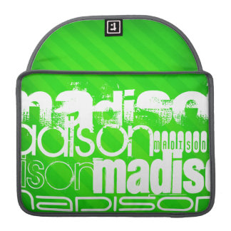 Custom Name Pattern on Neon Green Stripes Sleeves For MacBook Pro