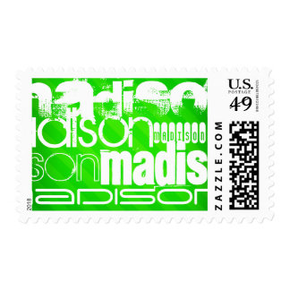Custom Name Pattern on Neon Green Stripes Postage