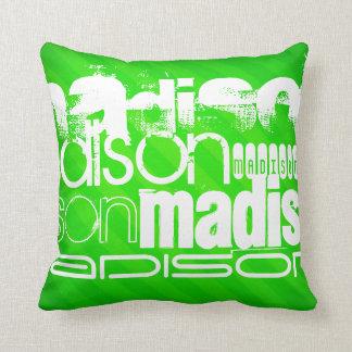 Custom Name Pattern on Neon Green Stripes Throw Pillow