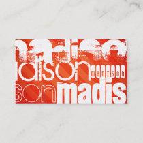 Custom Name Pattern on Neon Orange Stripes Business Card
