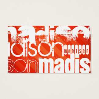 Custom Name Pattern on Neon Orange Stripes Business Card