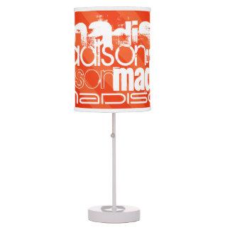 Custom Name Pattern on Neon Orange Stripes Desk Lamp