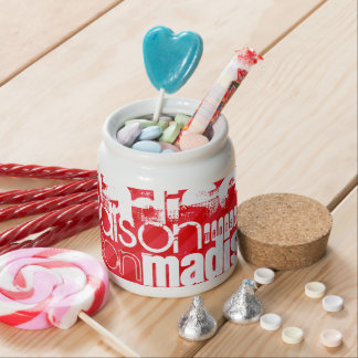 Custom Name Pattern on Red Diagonal Stripes Candy Dish