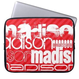 Custom Name Pattern on Red Diagonal Stripes Laptop Sleeve