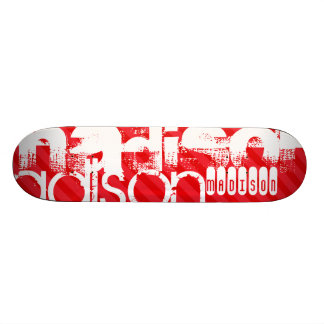 Custom Name Pattern on Red Diagonal Stripes Skateboard Deck