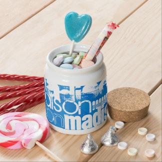 Custom Name Pattern on Royal Blue Stripes Candy Dish