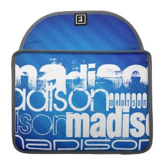 Custom Name Pattern on Royal Blue Stripes MacBook Pro Sleeves